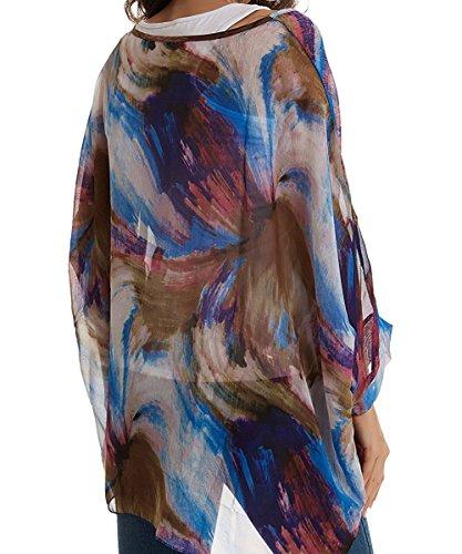 de Mode Plage Femme Bain Caftan en Bikini Tunique Boheme 4 Haut Mousseline Manche Hippie Chic Cover Chemise Kimono Chauve Blouse Soie Maillots Floral Up Cache Top Souris 3 Multicolore 50 Beachwear de Imprimee de RYw7B1x