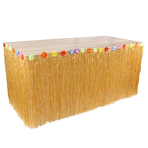 MHJY Hawaiian Luau Table Skirt Tropical Hula Skirt Table Cover Artificial Flower Grass Table Skirt Hula Grass Table Skirt for Wedding Event Celebration Birthday Party Tablecovers