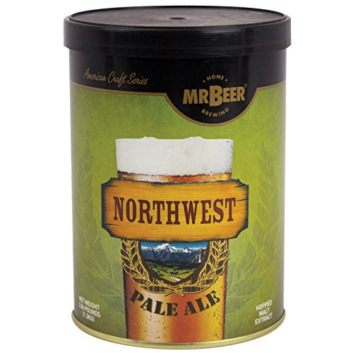 Mr. Beer Northwest Pale Ale 2 Gallon Homebrewing Craft Beer Making Refill Kit with Sanitizer, Yeast and All Grain Brewing Extract Comprised of the Highest Quality Barley and Hops - Malt Extract Kit