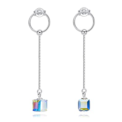 2d7347f14 SNOWH S925 Sterling Silver CZ Teardrop Hook Dangle Earrings Made with Swarovski  Crystals Fashion Jewelry Gifts