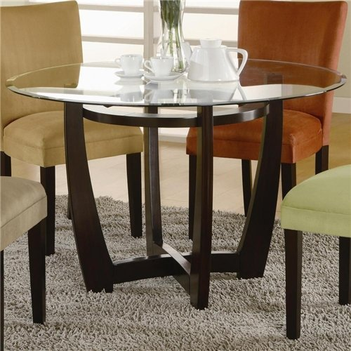 - Coaster Home Furnishings Round Glass Top with 1