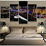 [LARGE] Premium Quality Canvas Printed Wall Art Poster 5 Pieces / 5 Pannel Wall Decor Las Vegas Nightscape Painting, Home Decor For Living Room Pictures - With Wooden Frame