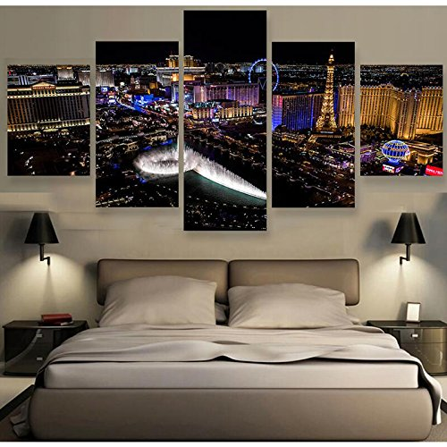 [LARGE] Premium Quality Canvas Printed Wall Art Poster 5 Pieces / 5 Pannel Wall Decor Las Vegas Nightscape Painting, Home Decor For Living Room Pictures - With Wooden Frame by PEACOCK JEWELS