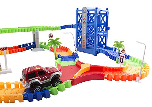 b516832069d95 Amazon.com  Race Car Track Set Toy Educational Twisted Flexible Tracks 240  Pcs 2 Cars Toy with Lifter