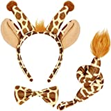 Animal Costume Set Animal Ears Nose Tail and Bow Tie Animal Fancy Dress Costume Kit Accessories for Kids (Giraffe Costume) Brown