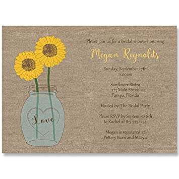 Amazon sunflower bridal shower invitations burlap yellow amazon sunflower bridal shower invitations burlap yellow mason jar wedding shower invites custom set of 10 printed invites with white envelopes filmwisefo