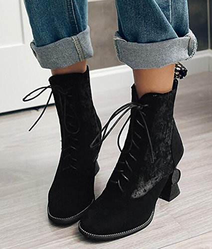 Idifu Mujeres Sexy Special Chunky High Heels Faux Suede Lace Up Short Botines Negro