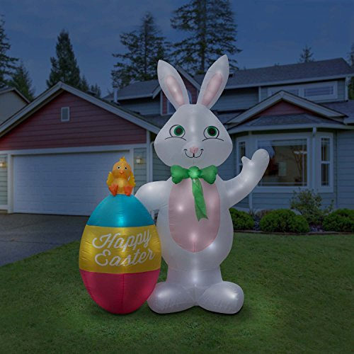 Holidayana Inflatable Giant 8Ft. Easter Bunny & Egg Duo Easter Inflatable Featuring Lighted Interior / Airblown Inflatable Easter Decoration With Built In Fan And Anchor (Outdoor Inflatable)