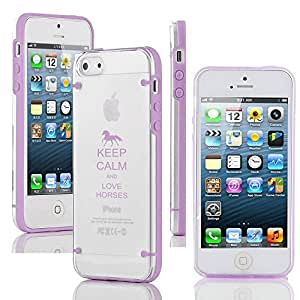 Apple iPhone 5 5s Ultra Thin Transparent Clear Hard TPU Case Cover Keep Calm and Love Horses (Purple)