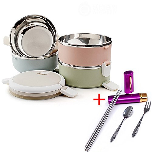 Ieasycan 3 Layers Stainless Steel Japanese Bento Box With...