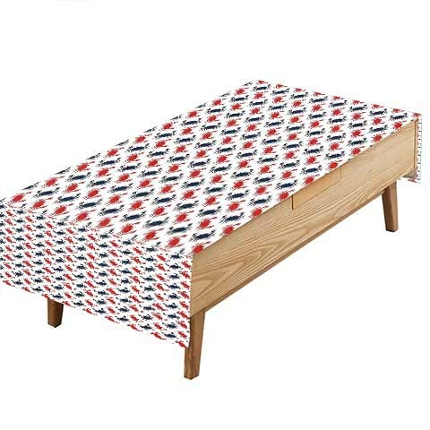 PINAFORE テーブル 洗濯可能 ポリエステル カップル 風景 海辺 サンベッド アンブレラ プリント カラー カバー 布 ファミリー ダイニングテーブル 装飾布 幅50×長さ80インチ W60