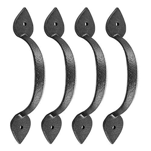 Renovator's Supply 35645 Door Pull Handle Wrought Iron Rustproof Finish Heart 6-7/8 Inch Set of 4, Black