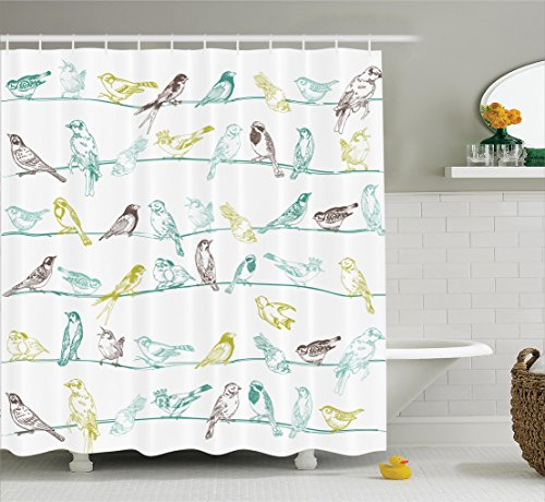 Ambesonne Apartment Decor Shower Curtain Set, Various Type Of Birds Sitting And Chirping On The Wires Musical Creatures Print, Bathroom Accessories, 69W X 70L Inches, Light Green Brown (Sitting Bird)