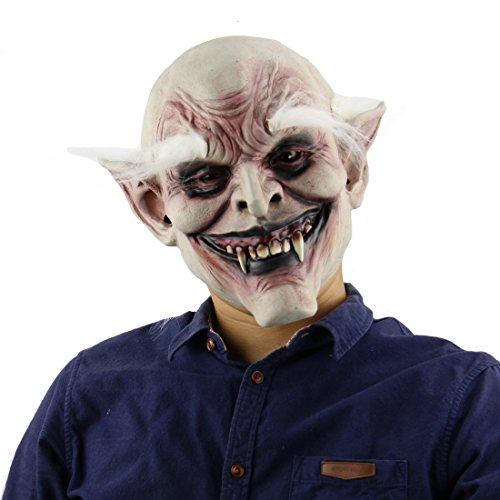 Bane Face Mask Costume (MARIAN Halloween Party White Eyebrows Demon Masks for Adult)