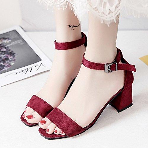 RUGAI-UE Verano Zapatos High-Heeled Sandals zapatos de mujer Claret