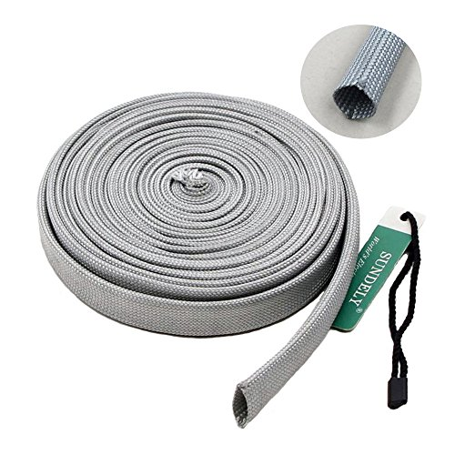 SUNDELY Gray Color Heat Shield Protector Woven Sleeve Pipe Roll Spark Plug for Oil Fuel Line Wire 3/8