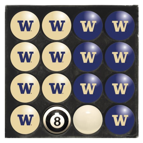 Licensed Ncaa Billiard Pool Cue - Imperial Officially Licensed NCAA Home vs. Away Team Billiard/Pool Balls, Complete 16 Ball Set, Washington Huskies