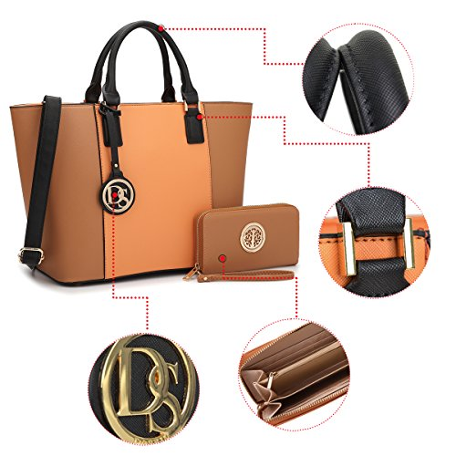 Handle Large Brown Tote Shoulder Purse Orange Bag Dasein Structured Matching Bag Top Women's Designer Laptop 6417 Satchel Handbag Wallet n0nXSPa
