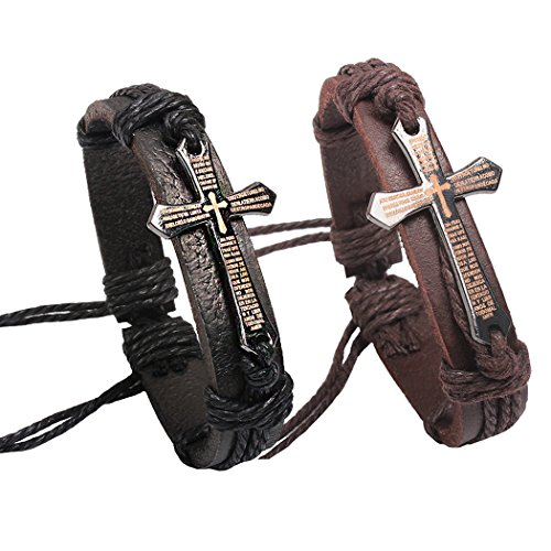 2 Pcs Fashion Alloy Letter Scripture Bangle Cross Cuffs Black and Brown Leather Bracelet