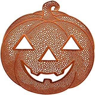 Benson Mills Pressed Vinyl Placemats for Halloween/Fall (Orange/Pumpkin Jack O Lantern, 14