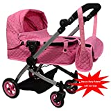The New York Doll Collection Modern Bassinet Baby Stroller Quilted Fabric, Pink Color, Adjustable Height FREE Diaper Bag