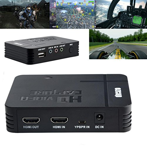 HD Game Capture Recorder Box,Capture Card HD Video Capture1080P HDMI/YPBPR Recorder Xbox,Support Mic in with both HDMI and YpbPr Input (Black) by Aurorax