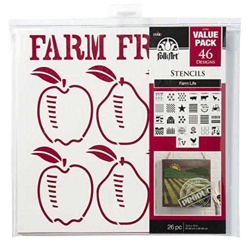 Die Cut Wall (FolkArt Die Cut Paper Stencils, 31560E Farm Life (26-Pack))