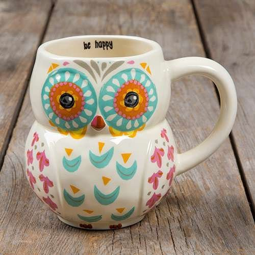 Natural Life Be Happy Folk Art Owl 16oz Mug