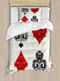 Poker Tournament Duvet Cover Set Twin Size by Ambesonne, Retro Baroque Frame Gamble Symbols Vintage Antique Ornamental Design, Decorative 2 Piece Bedding Set with 1 Pillow Sham, Red Black Silver