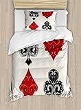 Ambesonne Poker Tournament Duvet Cover Set Twin Size, Retro Baroque Frame Gamble Symbols Vintage Antique Ornamental Design, Decorative 2 Piece Bedding Set with 1 Pillow Sham, Red Black Silver