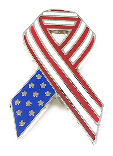 20 Bulk Deluxe Metal and Enamel American Flag Ribbon Lapel Pin - Patriotic 4th of July Handouts from Sea View Treasures