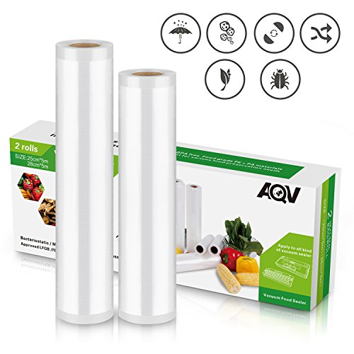 Vacuum Sealer Rolls, Sous Vide Food Bags, Two (2), Large 11″ x 16′ & 9″ x 16′ Combo, Commercial Grade Plastic, Food Vac Storage & Heat Seal, Vacuum sealer Saver, Microwave & Freezer Safe, Store A Meal