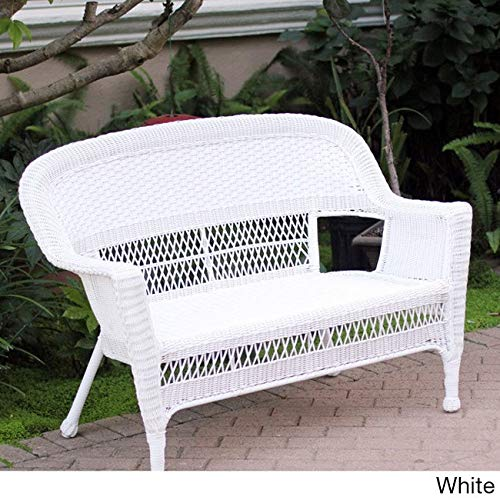 Jeco Wicker Patio Love Seat White (Loveseat Resin White Wicker)