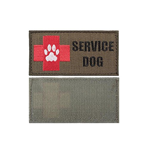 isibo 2 Pieces Tactical Service Dog Patch Tactical Patch Dog Harness Vest Patch Nylon Medical First Aid Red Cross Morale Patches Badges