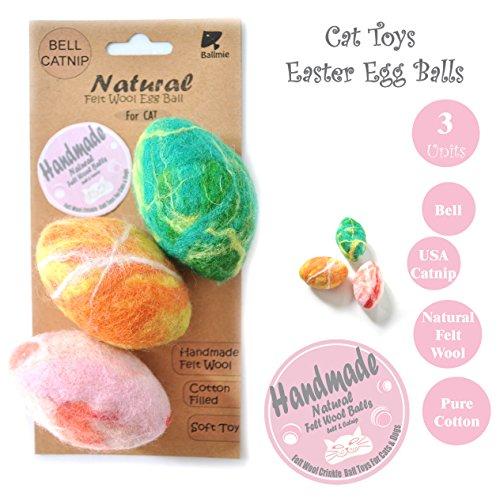 BALLMIE Cat Toys Ball Catnip Eggs, Handmade Felt Wool Toys Fleece Toys Ball, Bell, Catnip (3 Units)