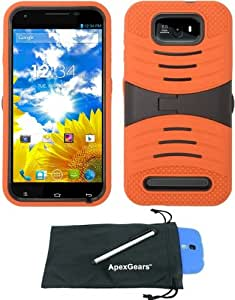 For BLU Studio 5.5 D610a Rugged Arched Hybrid Kickstand Phone Cover Case with Stylus Pen and ApexGears (TM) Phone Bag (Orange Black)