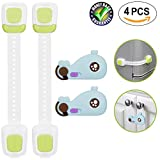 Childproof Cabinet Locks Child Safety Adjustable Length, Refrigerator Lock Adhesive No Tools or Drilling, Baby Safety Locks, Furniture Child Lock for Baby Proofing Fridge,Drawer,Toilet And More 4-Pack