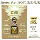 Amplim 128GB UHS-II SDXC SD Card Blazing Fast Read 285MB/S (1900X) Class 10 U3 Ultra High Speed V60 UHSII Extreme Pro SD XC Memory Card. Professional 4K 8K Video Shooting 128 GB / 128G TF Flash. New