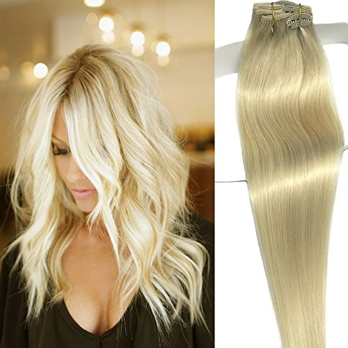 Labetti Clip in Hair Extensions Platinum Blonde Real Human Hair Extensions 7 Pieces 70g Silky Straight Weft Remy Clip in Hair(18 inches, #60)
