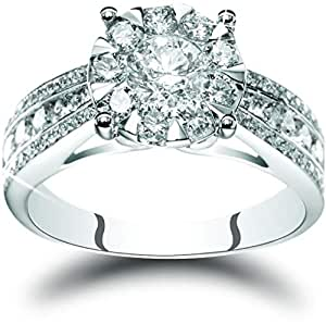 Liali Mirage 18K White Gold Taper Band Ring 3 Carat Look [XMASPROMO -14000]