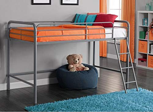 Loft Bed With Stairs-Toddler Loft Bed- Silver Metal Twin - Give Your Child