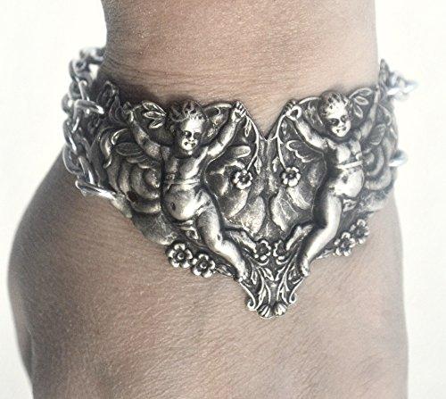 Antique Art Nouveau Silver Plate Cherub Cherubim Angels Wide Cuff Bracelet Repoussé Renaissance,Baroque,Bracer,Medieval
