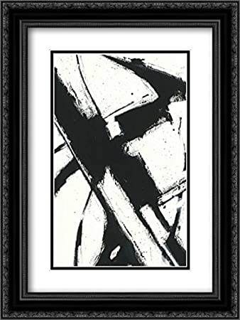 Expression abstract i white 2x matted 18x24 black ornate framed art print by novak shirley