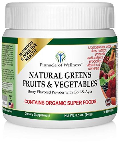 Naturelles Fruits Verts et légumes - Complete végétalienne et sans gluten Raw gratuit Whole Food nutritionnelle Superfood de supplément contenant tout organique Feuille Verts fruits et légumes avec de puissants antioxydants sous forme de poudre que vous m