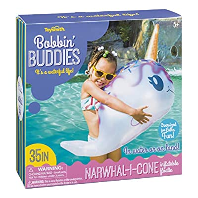 Toysmith Bobbin' Buddies Narwhal-I-Cone Inflatable Pool Toy: Toys & Games