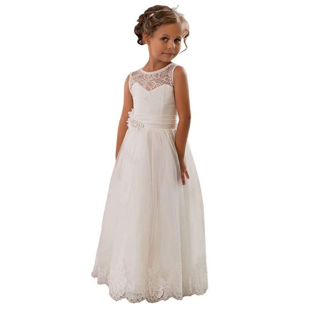 CDE Lace Boho A-line Flower Girl Dress Holy First Communion Gowns