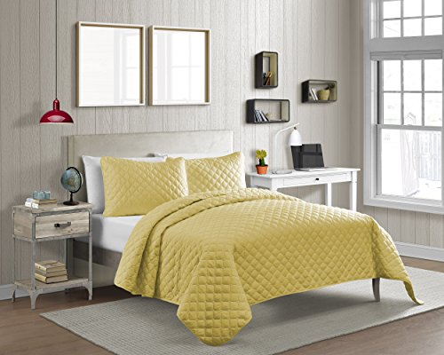 Cozy Bed Vibrant Color Solid Pinsonic Diamond Quilt Set, Twin/2Piece, Yellow, 2 Piece