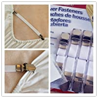 Quality Bed Sheet Grippers Cover Fasteners Suspenders with Metal Clips (Set of 4)