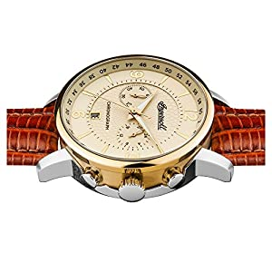 Ingersoll Men's Quartz Stainless Steel and Leather Casual Watch, Color:Brown (Model: I00603)