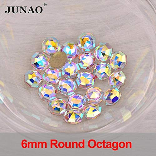 50pcs 3x11mm Crystal AB Glass Nail Rhinestone Horse Eye Crystal Flat Back Nail Art Decorations Stones Non Hotfix Strass (6mm Round Octagon)